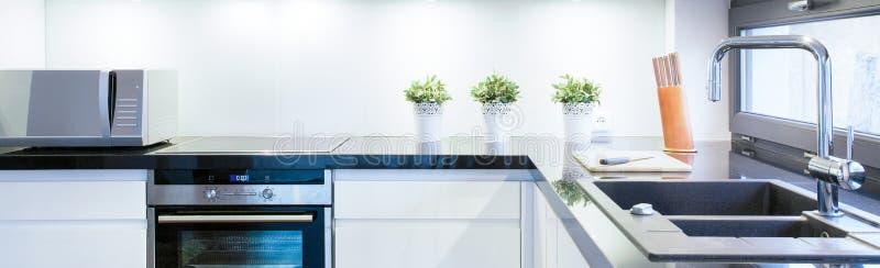 Zwart-witte keuken stock fotografie