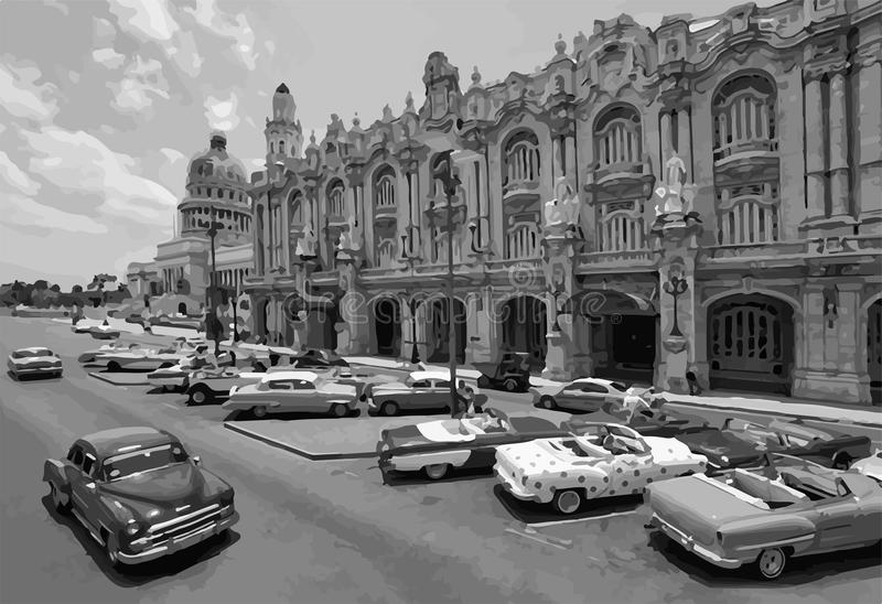 Zwart-witte klassieke auto's in het centrum van Havana in Cuba Zwart-wit getrokken van de stad van Havana stock illustratie
