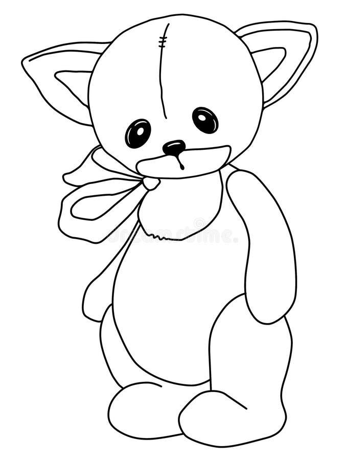 Zwart-witte kleuring Teddy Cat Een stuk speelgoed Getrokken door hand Zwart overzicht De droevige zachte pluche draagt inkt royalty-vrije illustratie