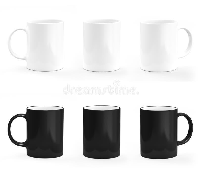 Zwart-witte koffiemok Mok leeg model vector illustratie