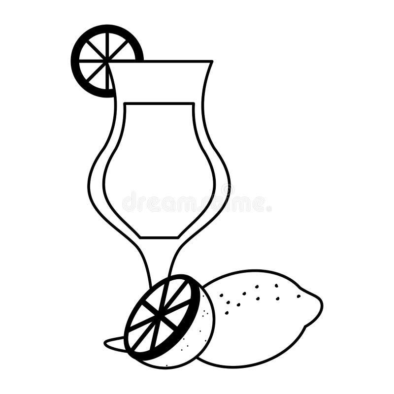 Zwart-witte kop van het limonade de natuurlijke sap vector illustratie