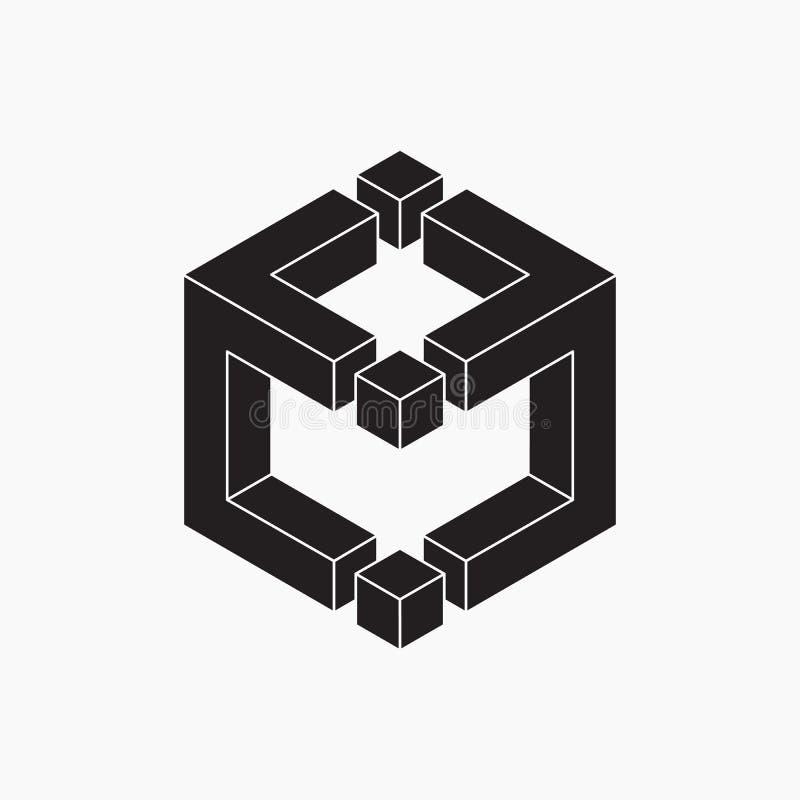 Zwart-witte kubus, optische illusie stock illustratie