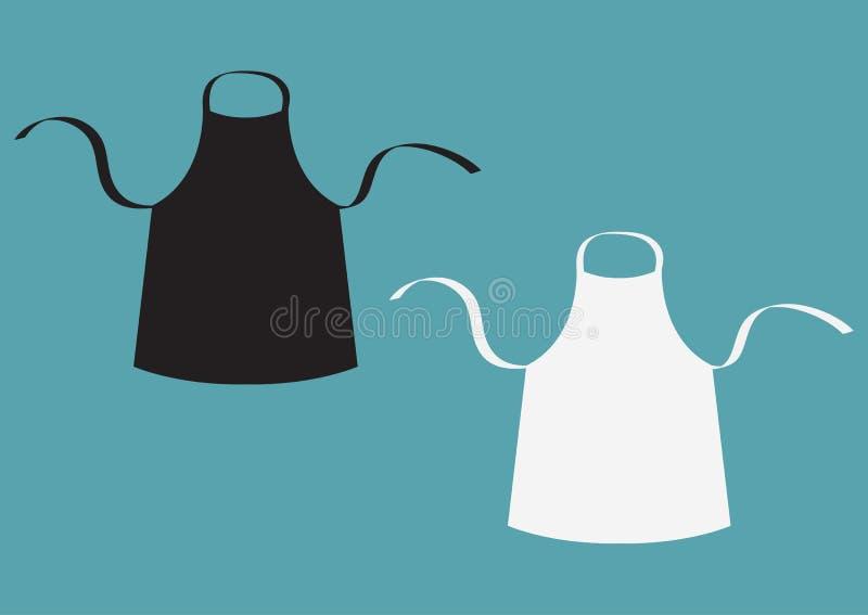 Zwart-witte lege keuken katoenen schortreeks Eenvormig voor kokchef-kok of bakker Kokend pictogram het malplaatje van de menukaar stock illustratie