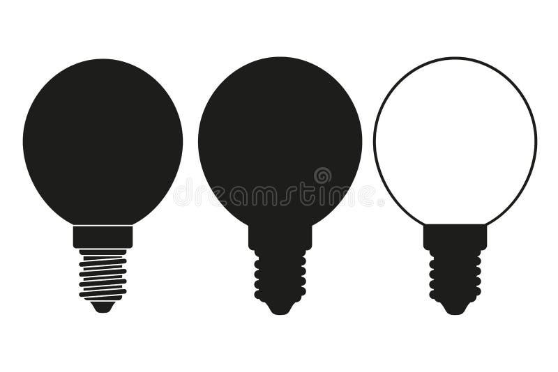 Zwart-witte lichte orb bolreeks royalty-vrije illustratie