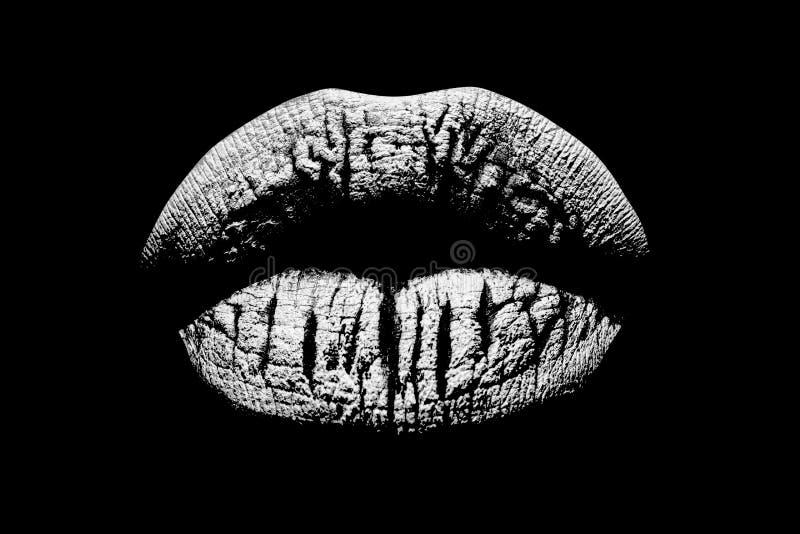 Zwart-witte lippen Sexy vrouwelijke mond Schoonheidspictogram dat op zwarte achtergrond wordt geïsoleerd LIPPENdruk Kus met liefd stock foto