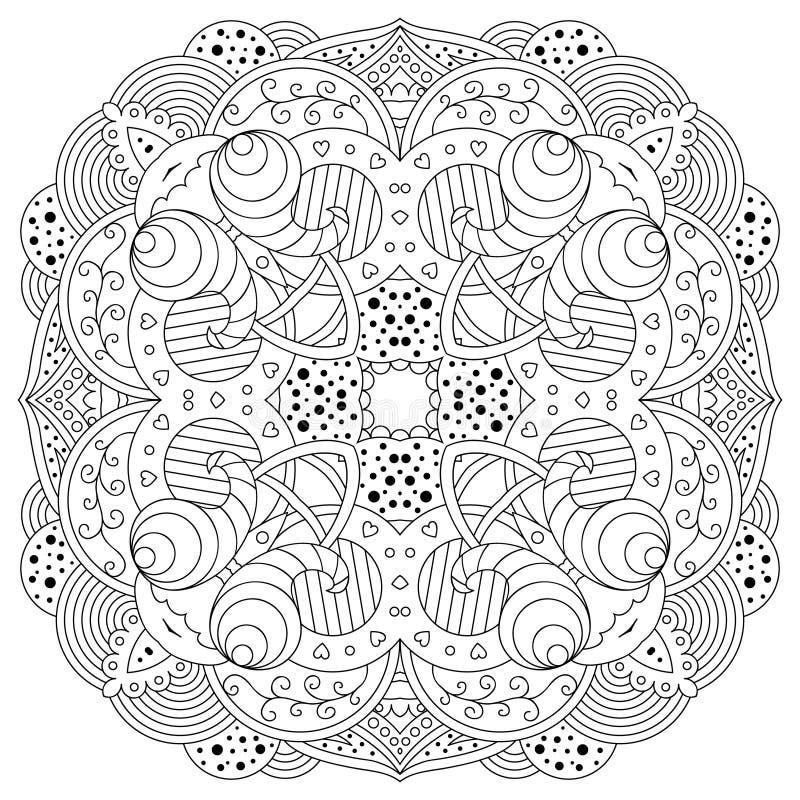 Zwart-witte mandala stock illustratie