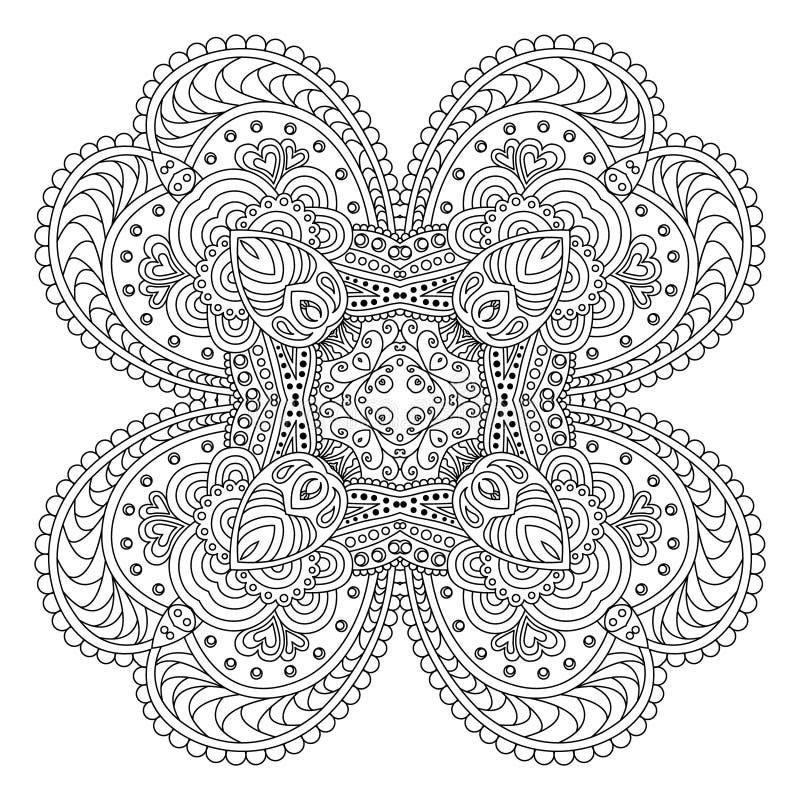 Zwart-witte mandala vector illustratie
