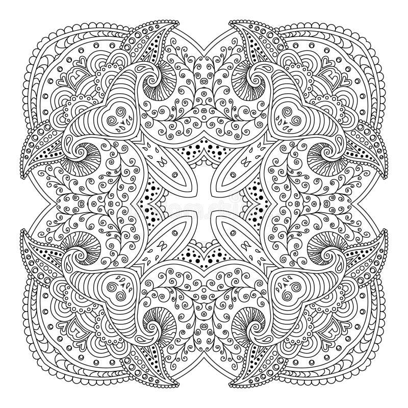 Zwart-witte mandala royalty-vrije illustratie