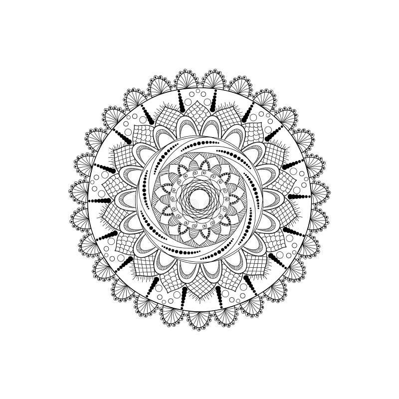 Zwart-witte mandala stock afbeelding
