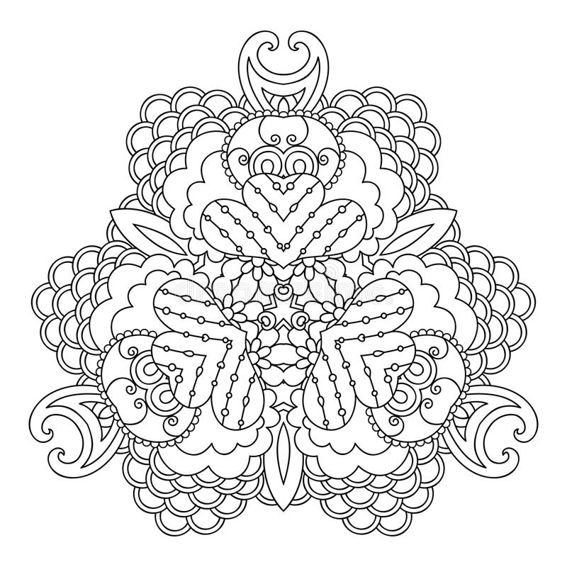 Zwart-witte mandalavariant royalty-vrije illustratie