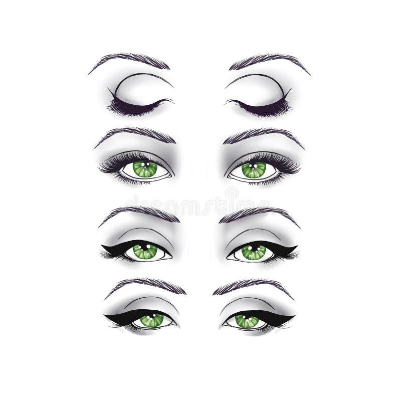 Zwart-witte Manierillustratie - ogen op Witte achtergrond vector illustratie