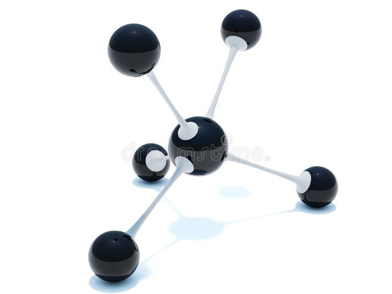 Zwart-witte molecule stock illustratie