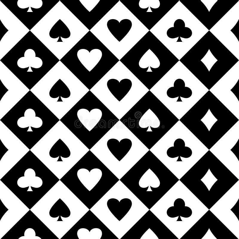 Zwart-witte naadloze achtergrond met kostuums van speelkaarten Vector stock illustratie