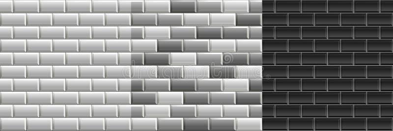 Zwart-witte naadloze texturen van metrotegels Reeks van vectorgrayscalebakstenen muur royalty-vrije illustratie