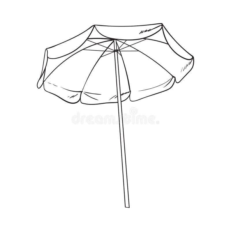 Zwart-witte open strandparaplu, de vectorillustratie van de schetsstijl royalty-vrije illustratie