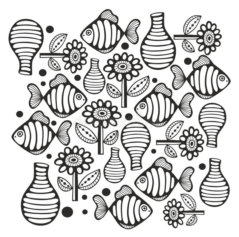 Zwart-witte pagina met vissen en bloemen royalty-vrije illustratie