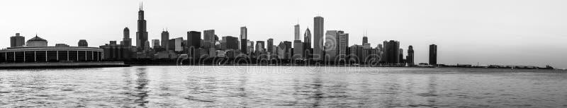 Zwart-witte panoramisch van de Horizon van Chicago royalty-vrije stock foto's