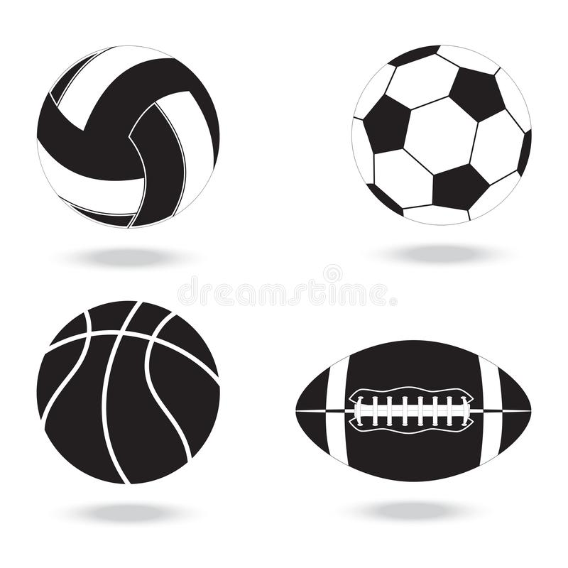 Zwart-witte pictogrammen van ballen voor verschillende sporten stock fotografie