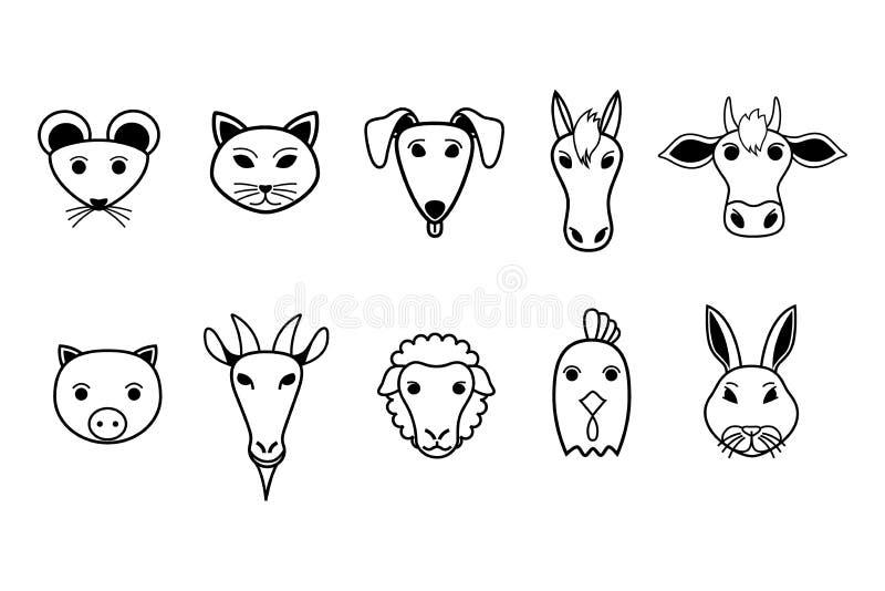 Zwart-witte pictogrammen van huisdieren vector illustratie