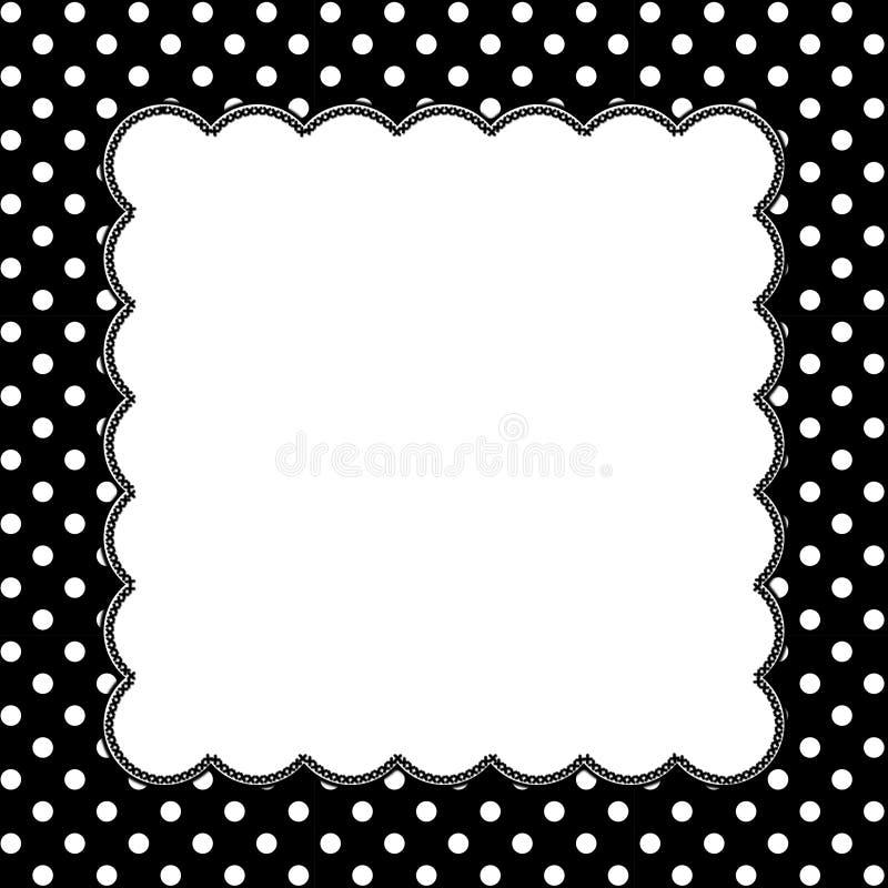 Zwart-witte Polka Dot Background met Borduurwerk royalty-vrije illustratie