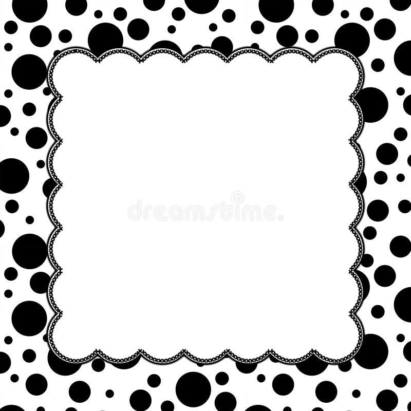 Zwart-witte Polka Dot Background met Borduurwerk stock illustratie