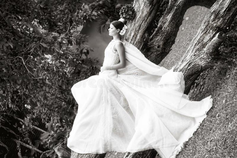 Zwart-witte Portretbruid royalty-vrije stock foto