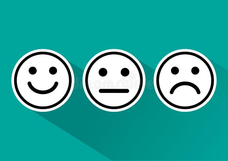 Zwart-witte reeks van de positieve, neutrale en negatieve, verschillende stemming van het smiley emoticons pictogram Vector illus stock illustratie