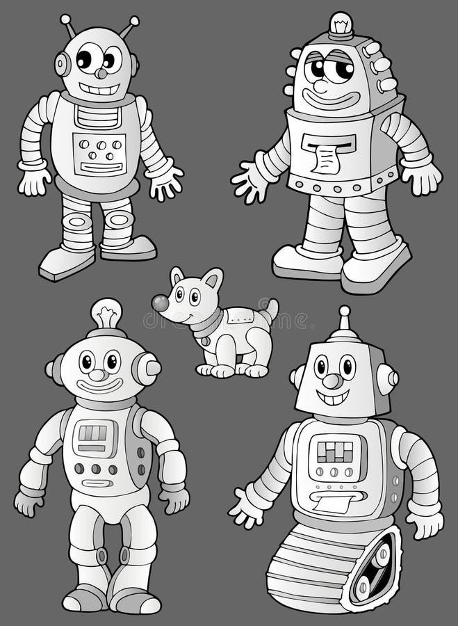 Zwart-witte robots op grijs stock illustratie