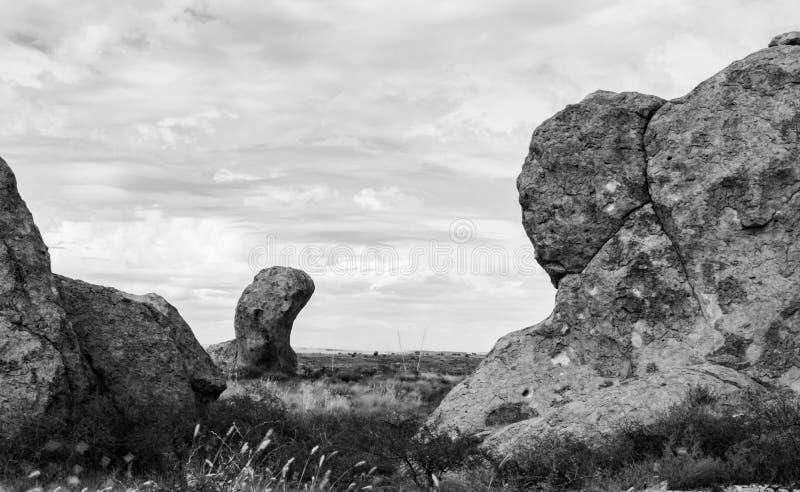 Zwart-witte rotsen stock afbeelding