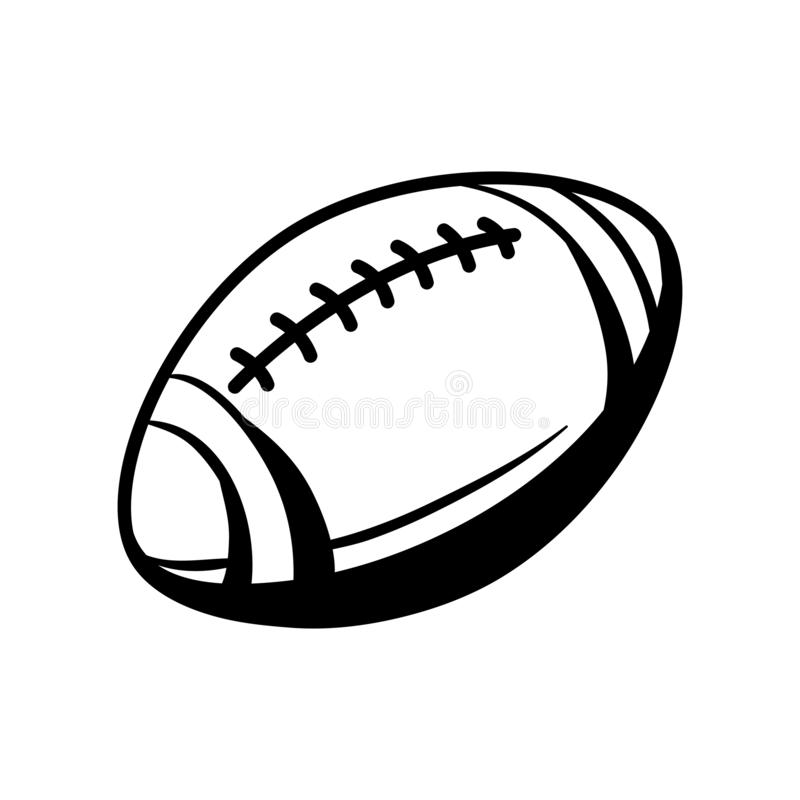 Zwart-witte rugbybal stock illustratie