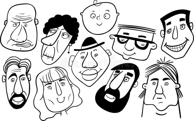 Zwart-witte samenstelling van verschillende beeldverhaalgezichten stock illustratie