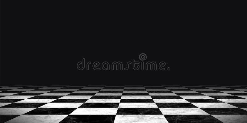 Zwart-witte schaakbordachtergrond royalty-vrije illustratie