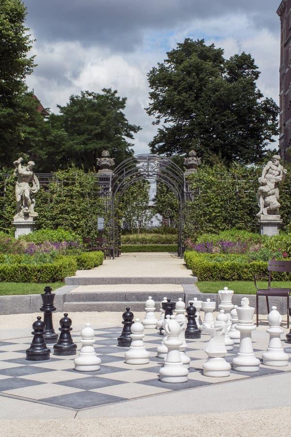 Zwart-witte schaakstukken op het straatschaakbord met sommige groene installaties stock afbeeldingen