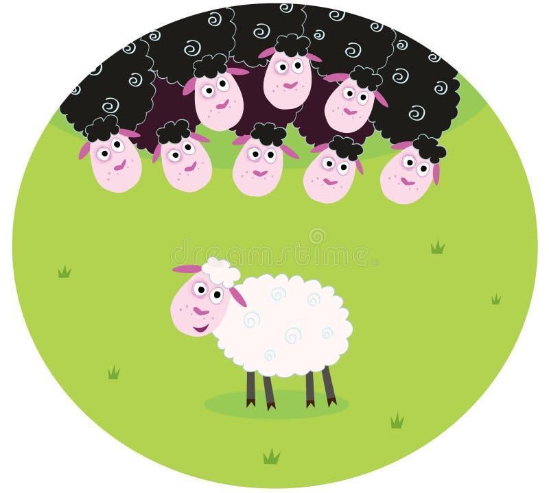Zwart-witte schapen vector illustratie