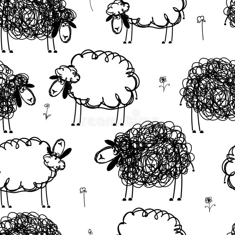 Zwart-witte sheeps op weide, naadloos patroon stock illustratie