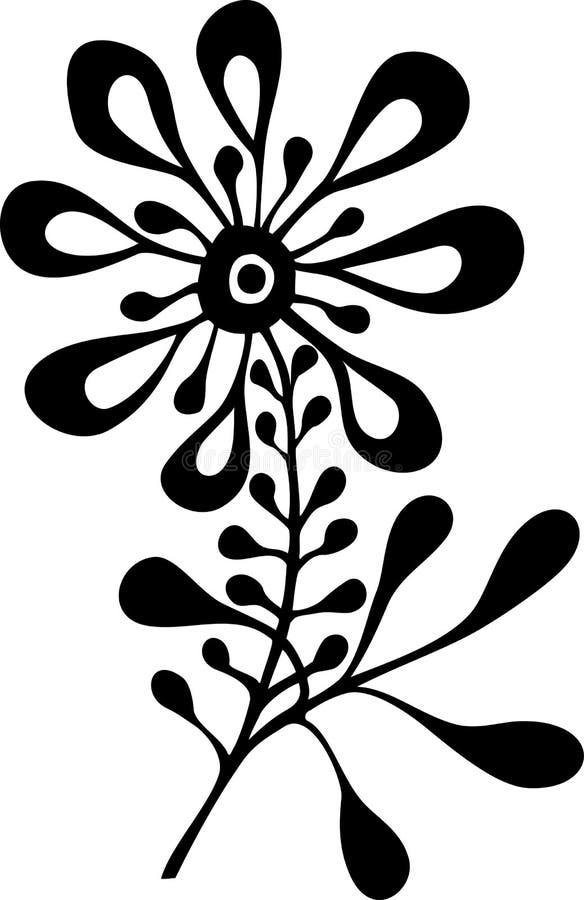 Zwart-witte sier vectorbloem stock afbeeldingen