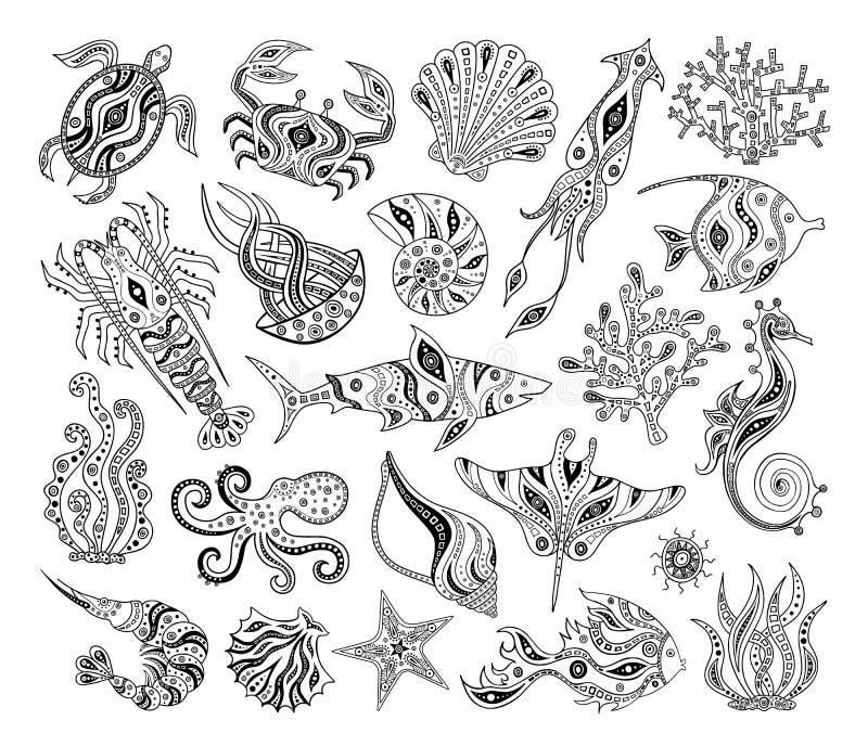 Zwart-witte silhouetten van overzeese inwoners Vector stencils royalty-vrije illustratie