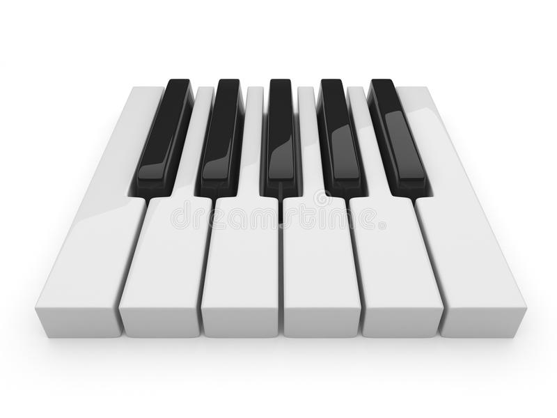 Zwart-witte sleutels op muziek. 3D piano. Geïsoleerdz stock illustratie