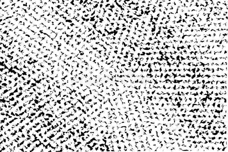 Zwart-witte slordige textuur Verontruste ongelijke oppervlakte Gebroken en vervormde zwart-wit halftone stock illustratie