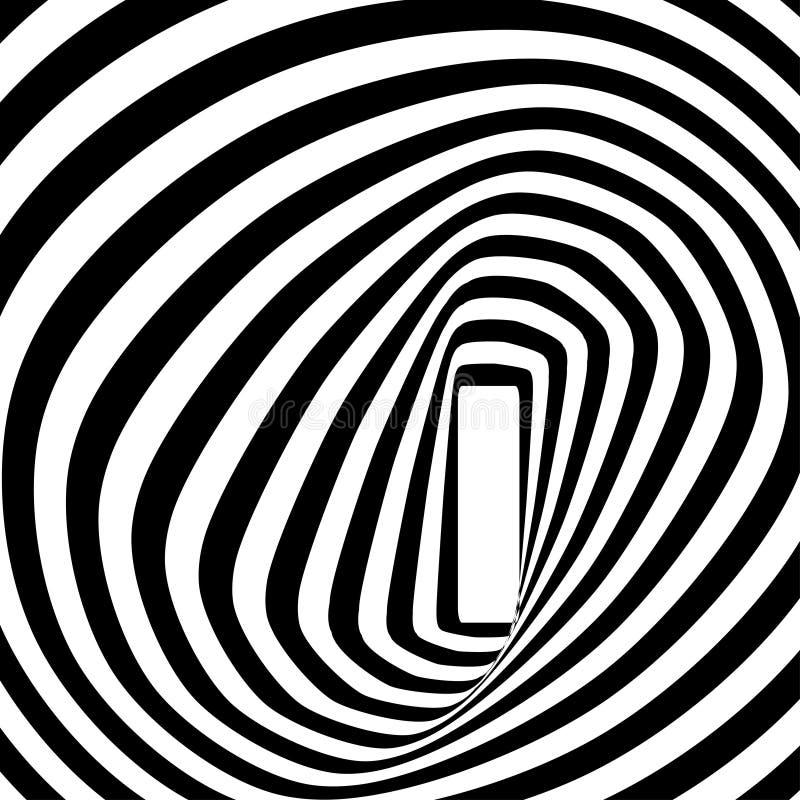 Zwart-witte spiraalvormige optische illusie stock afbeelding