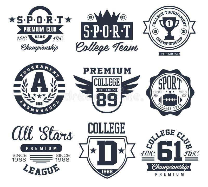 Zwart-witte Sportemblemen, Emblemenvector vector illustratie
