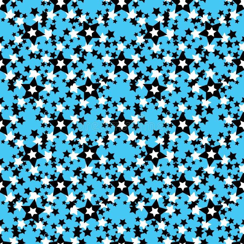 Zwart-witte sterren op een blauw naadloos patroon als achtergrond stock illustratie