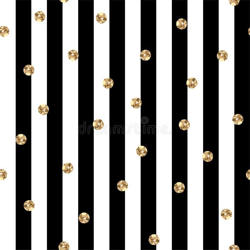 Zwart-witte Strepen met Gouden Polka Dots Seamless Pattern royalty-vrije illustratie