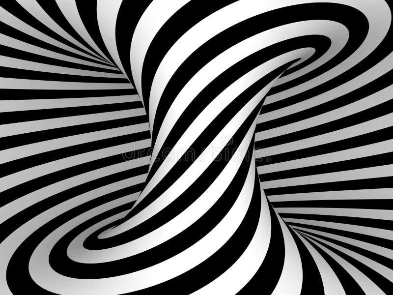 Zwart-witte Strepenprojectie op Torus. vector illustratie