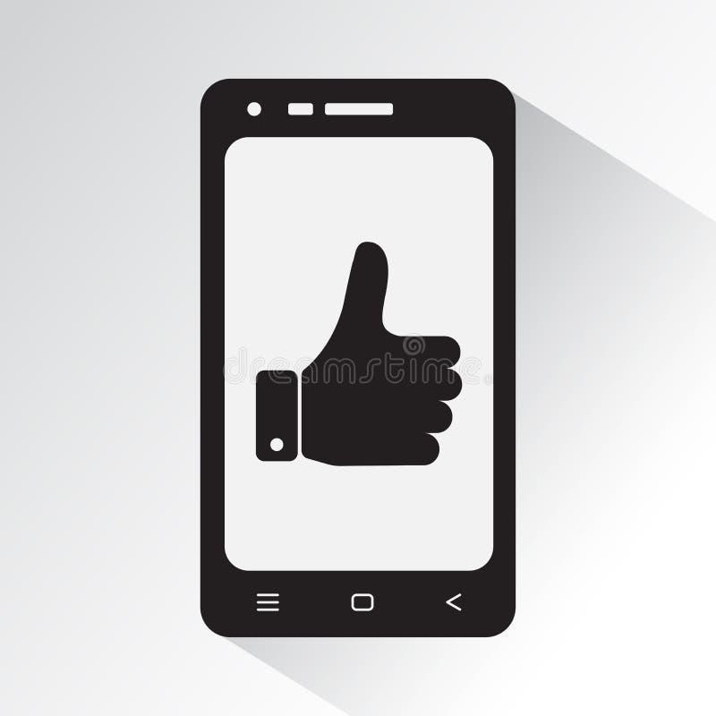 Zwart-witte telefoon met symbool omhoog duim Vlak pictogram van Smartphone Vector vector illustratie