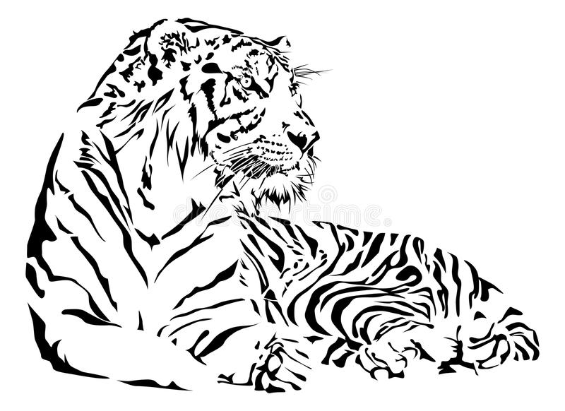 Zwart-witte tijger royalty-vrije illustratie