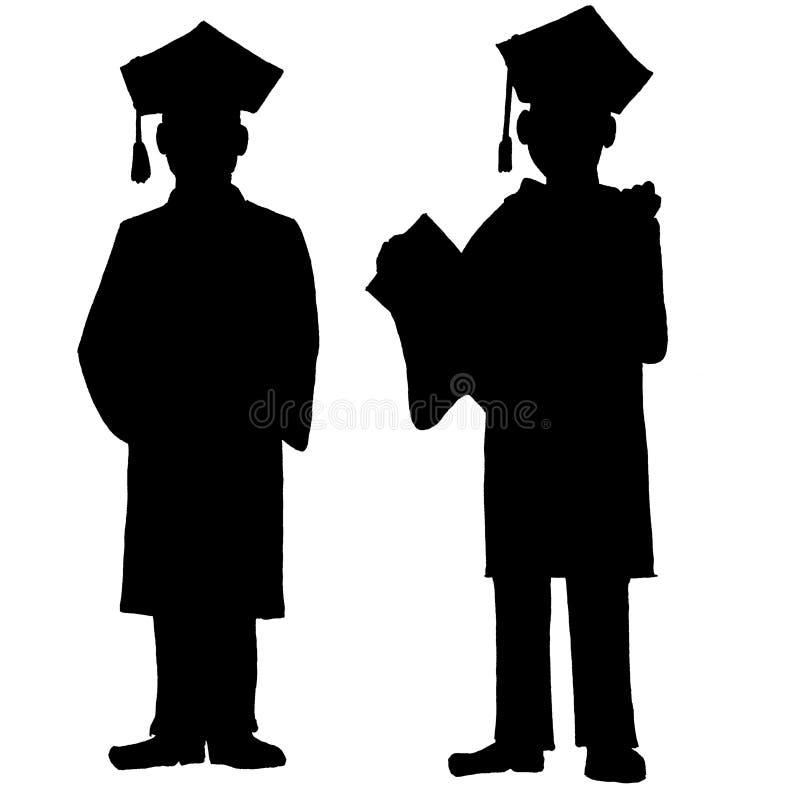 Zwart-witte twee jonge mensengraduatie royalty-vrije illustratie