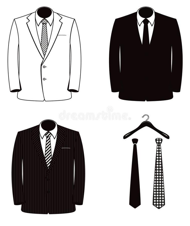 Zwart-witte van de Mensen` s Kostuum en Band Vectorillustratiereeks stock illustratie