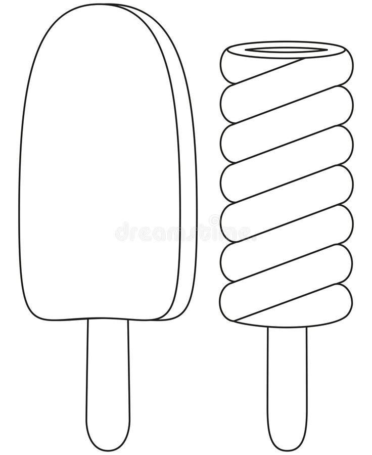 Zwart-witte van het het pictogramfruit van de lijnkunst van het de chocoladeroomijs de ijslollyreeks stock illustratie
