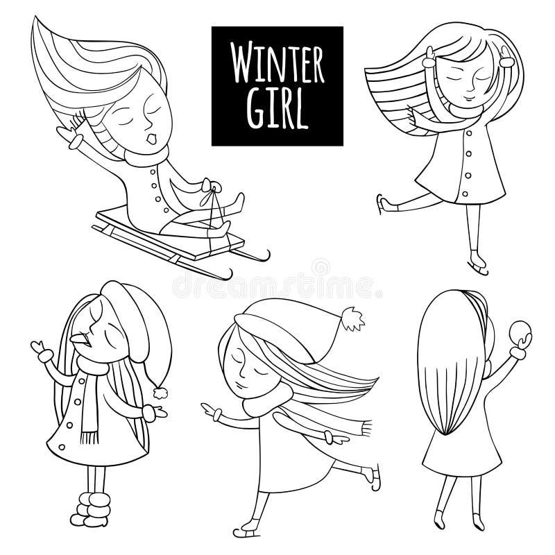Zwart-witte vastgestelde sneeuwpret stock illustratie